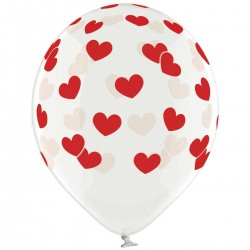"Гелиевый шар ""Сердца красные"" Кристалл"