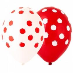 """Гелиевый шар """"Горошек"""" красный и белый"""