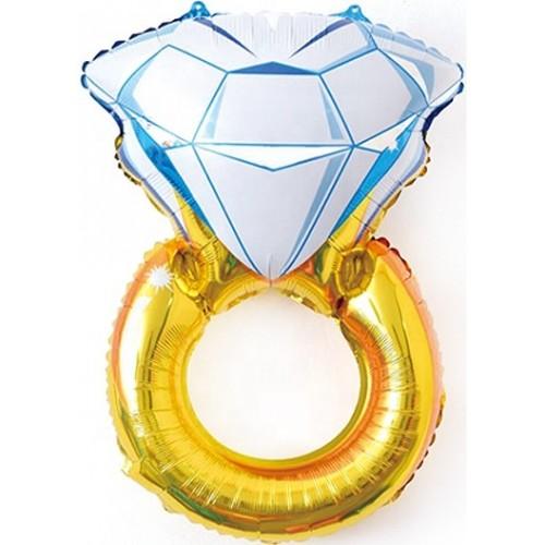 """Фольгированный шар """"Золотое кольцо с бриллиантом"""""""