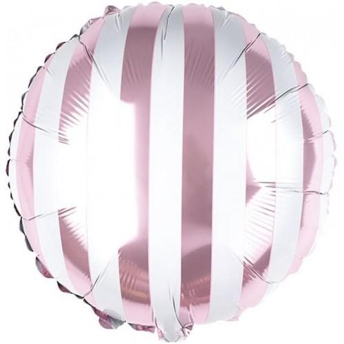 Фольгированный шар круг в полоску розовый/белый
