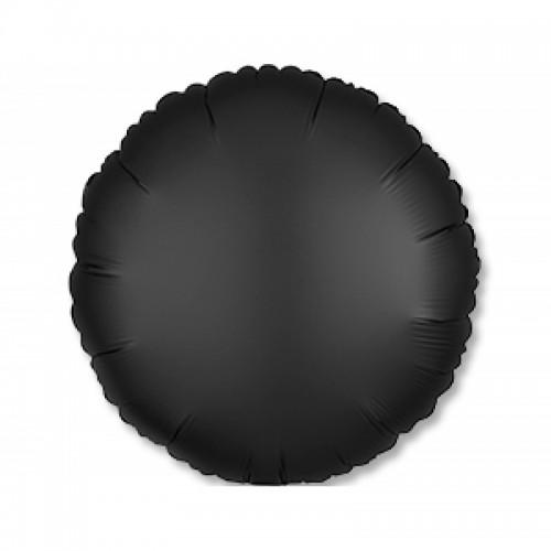"""Фольгированный шар круг """"Сатин Оникс"""" черный"""