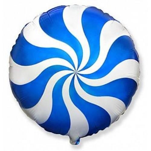 """Фольгированный шар круг """"Леденец"""" синий"""
