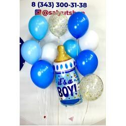 """Набор гелиевых шариков """"Бутылочка для мальчика"""""""