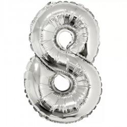 """Фольгированный шар Цифра """"8"""" Серебро"""