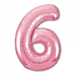 """Фольгированный шар Цифра """"6"""" Нежный розовый"""