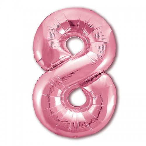 """Фольгированный шар Цифра """"8"""" Нежный розовый"""
