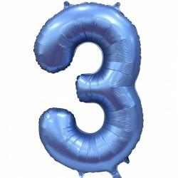 """Фольгированный шар Цифра """"3"""" синий"""