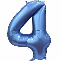 """Фольгированный шар Цифра """"4"""" синий"""