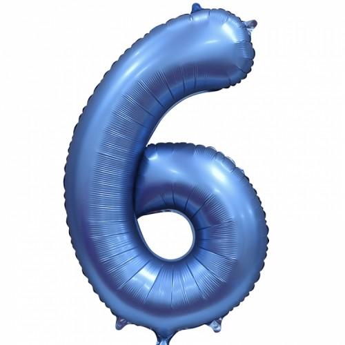 """Фольгированный шар Цифра """"6"""" синий"""