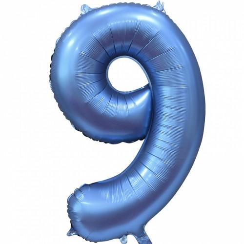"""Фольгированный шар цифра """"9"""" синий"""