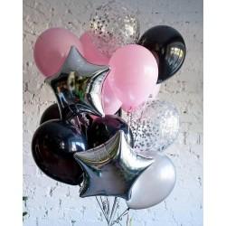 Набор гелиевых шариков 15 штук (Черно-розовый)
