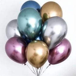 Набор гелиевых шариков 11 штук Хром