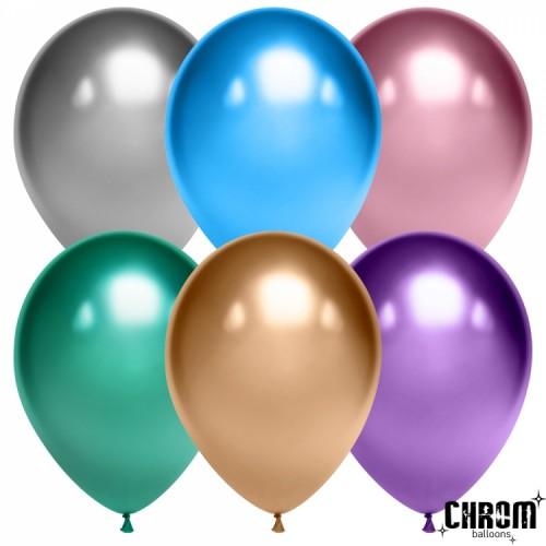 Гелиевый шар Хром, цвет в ассортименте