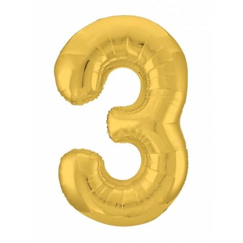 """Фольгированный шар Цифра """"3"""" Золото"""