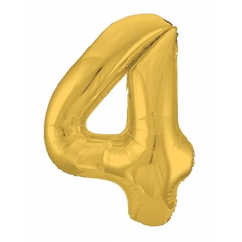 """Фольгированный шар Цифра """"4"""" Золото"""