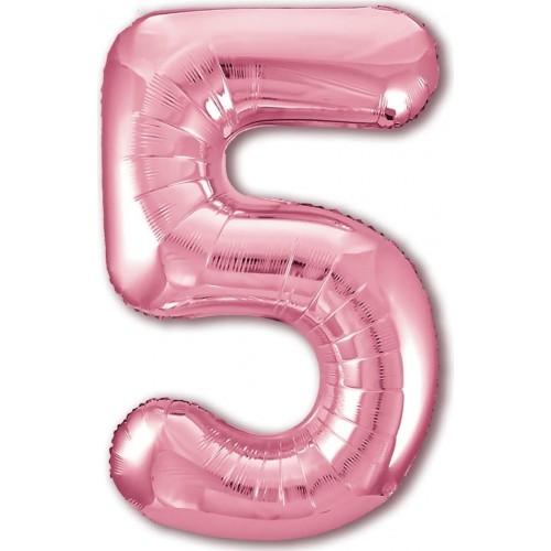 """Фольгированный шар Цифра """"5"""" Розовый"""