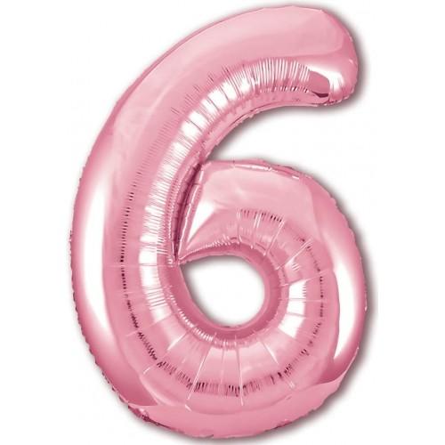 """Фольгированный шар Цифра """"6"""" Розовый"""