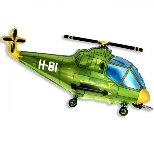 """Фольгированный шар """"Вертолёт"""" зелёный"""