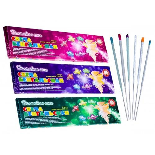 """Свечи бенгальские цветные 160 мм (6 шт) """"Волшебные огни"""""""